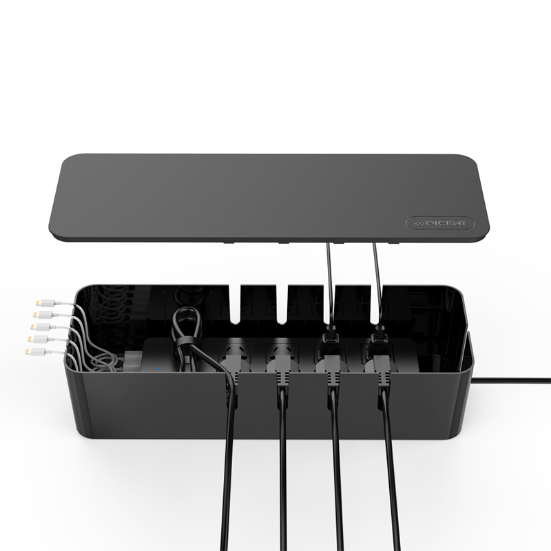 qicent cable management storage box organizer inches large wire cord container. Black Bedroom Furniture Sets. Home Design Ideas